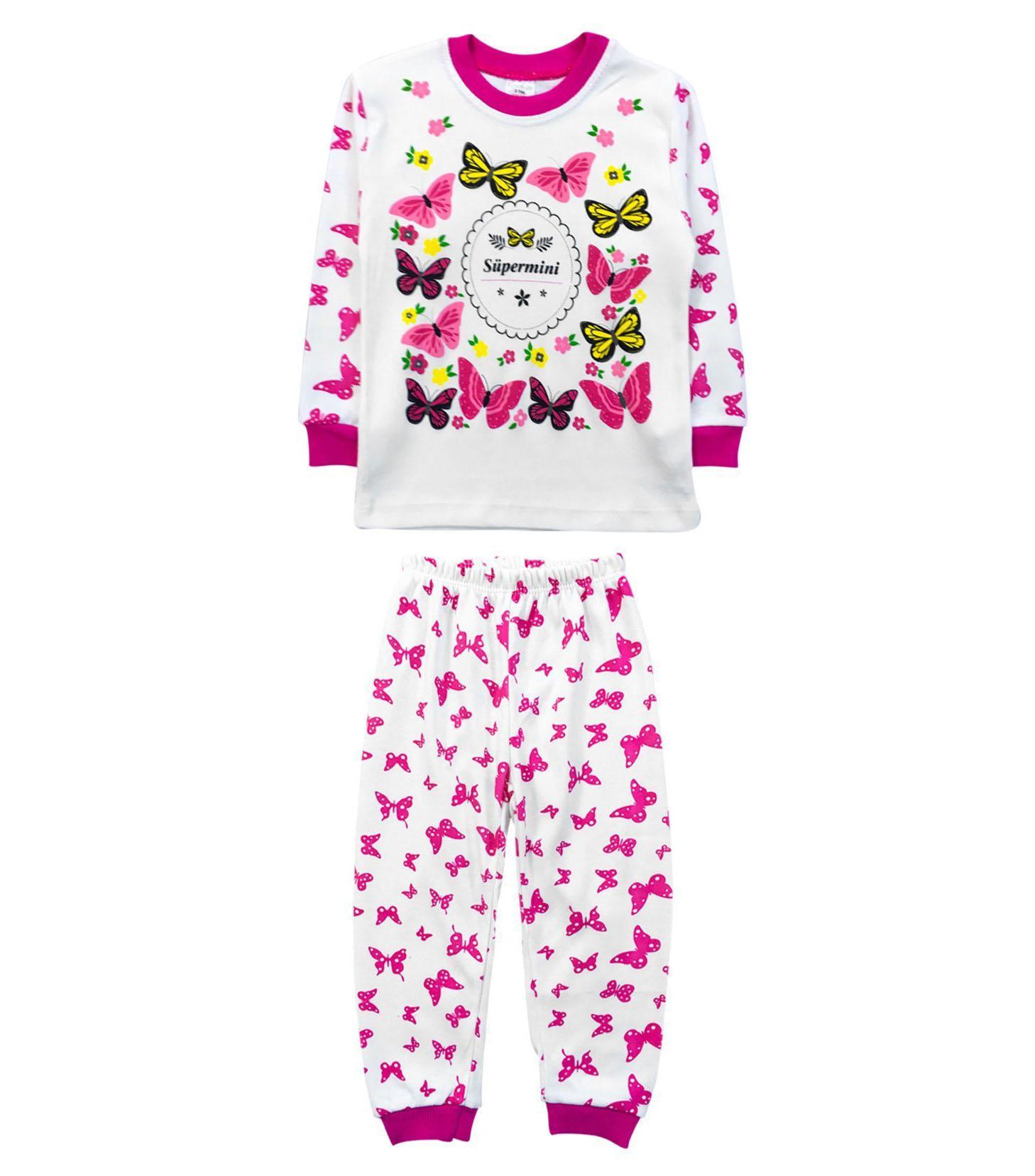 Kelebekli Kız Çocuk Pijama Takımı