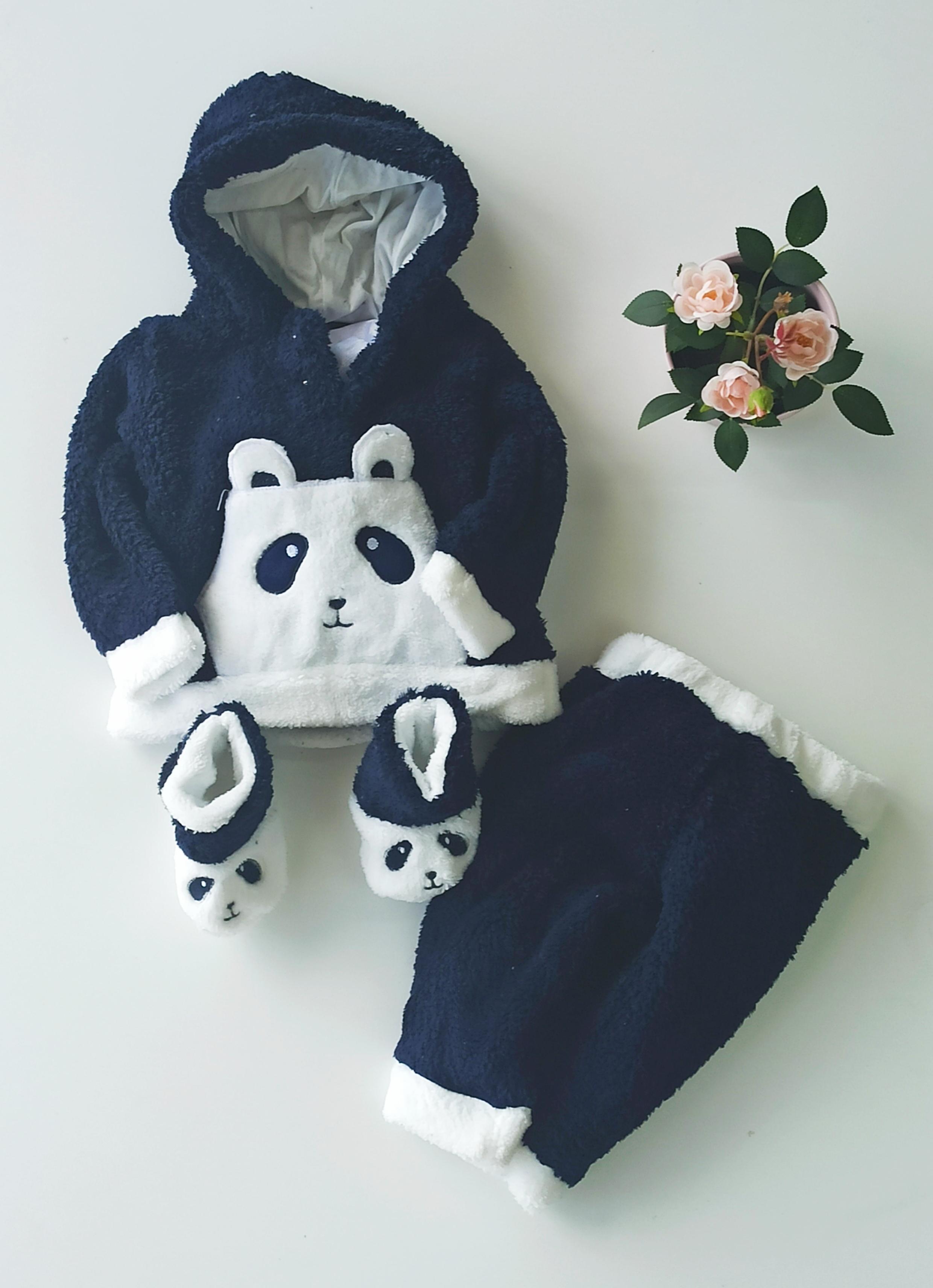 Panda Desenli Panduflu Welsoft Bebek Takım