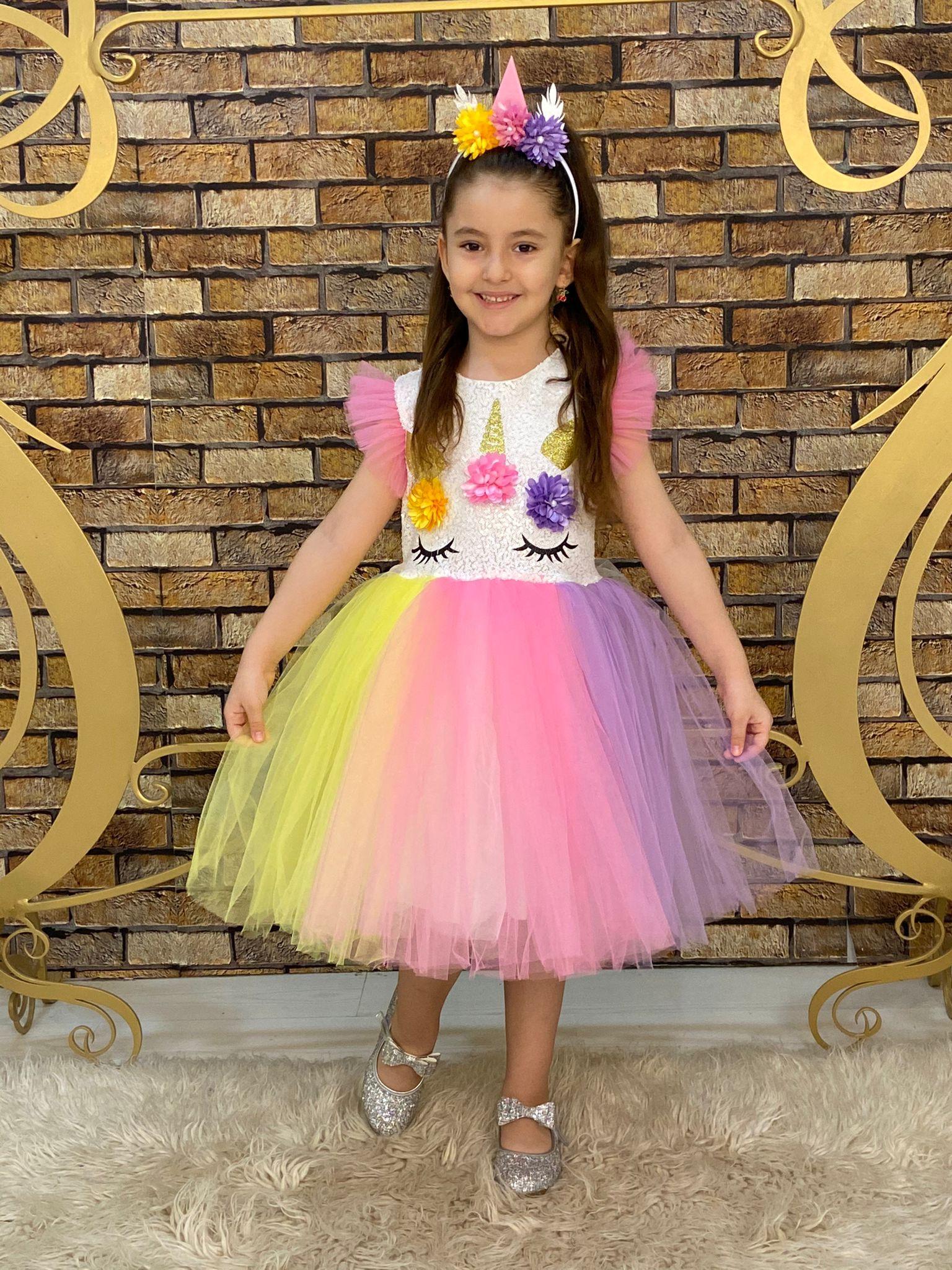 Gökkuşağı Kız Çocuk Elbise