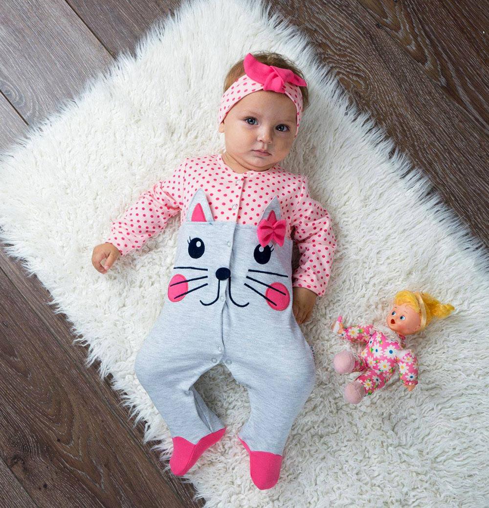 Minik Pisicik Bandanalı Bebek Tulum