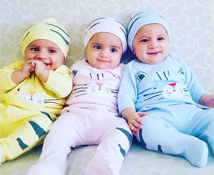 Kedicik Şapkalı 3'lü Bebek Takım