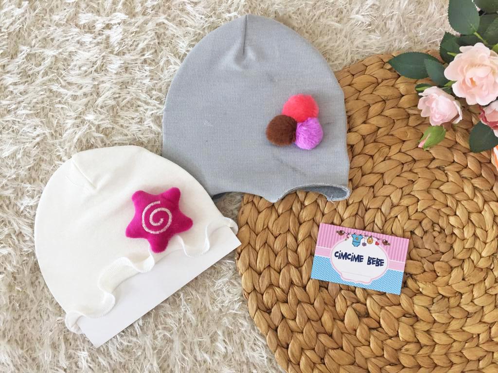 Oyuncaklı 2'li Kız Bebek Şapka Seti