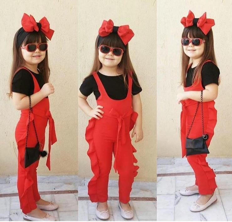 Kız Çocuk Bandanalı Kokoş Tulum