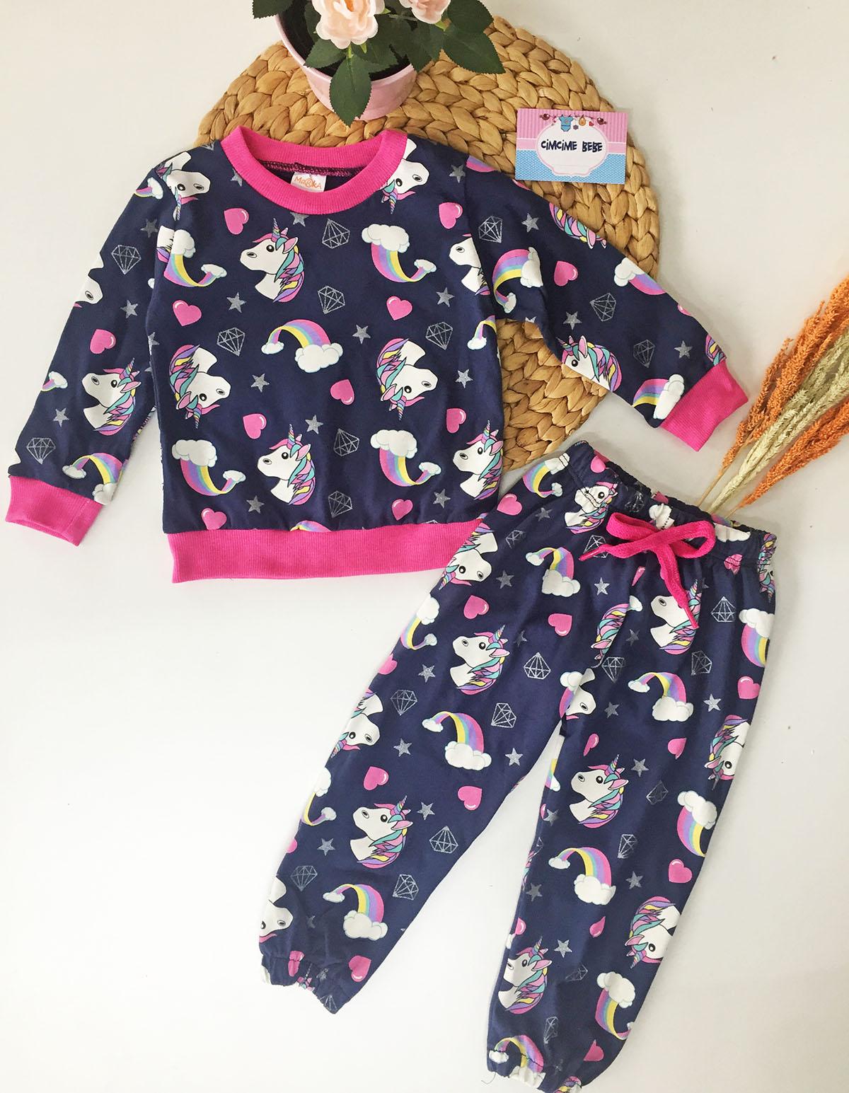 Unicorn Baskılı Kız Çocuk Pijama Takımı