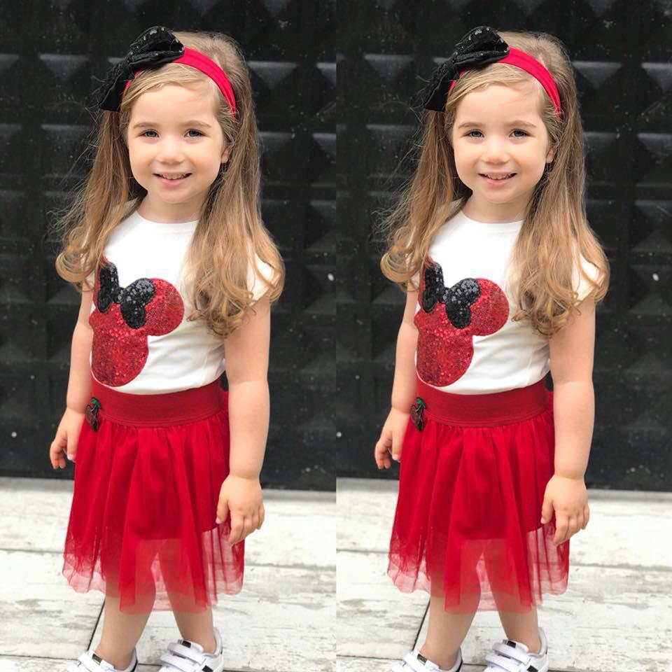 Bandanalı Tütülü Pullu Miki Kız Çocuk Takım