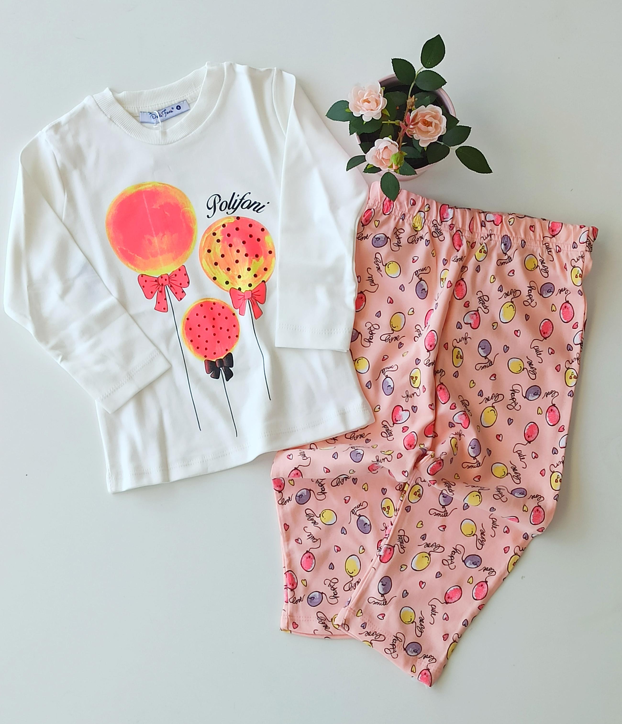 Balon Desenli Kız Çocuk Pijama Takımı
