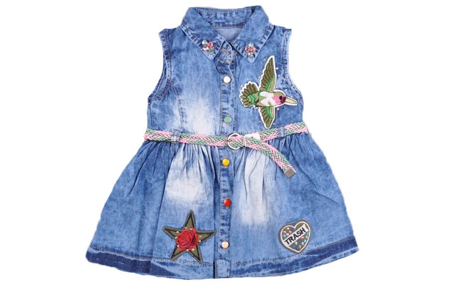 Nakışlı Kız Bebek Kot Elbise