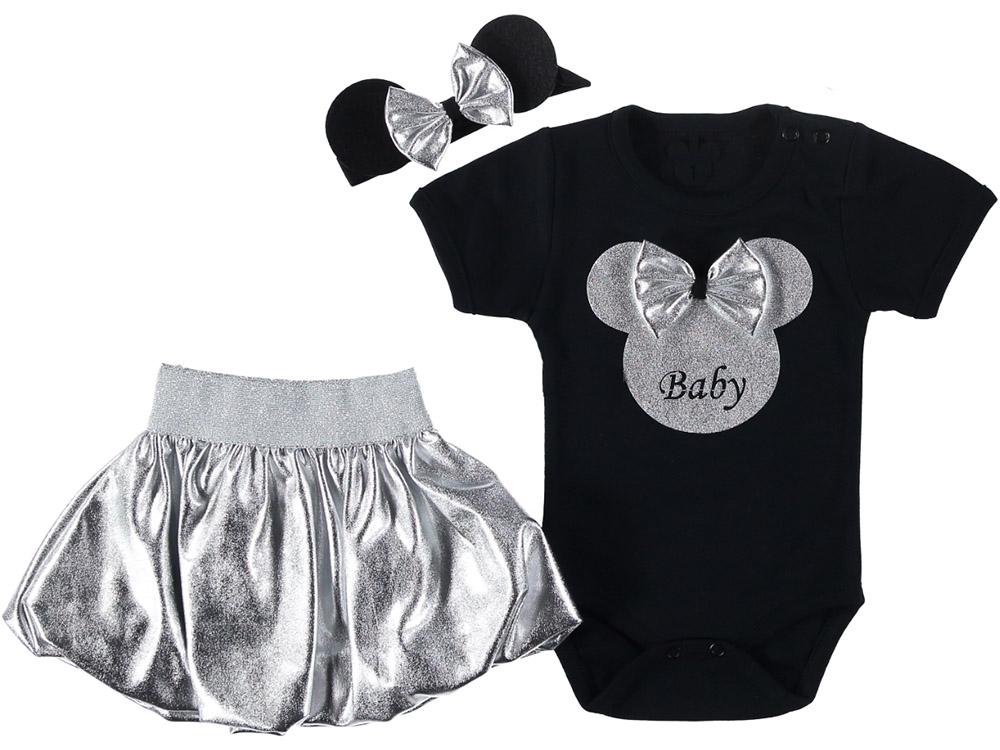 Fareli Bandanalı Kız Bebek Takım