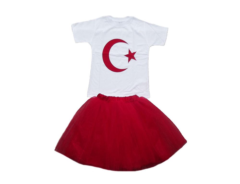 Türk Bayraklı Tütü Etekli Kız Çocuk Takım