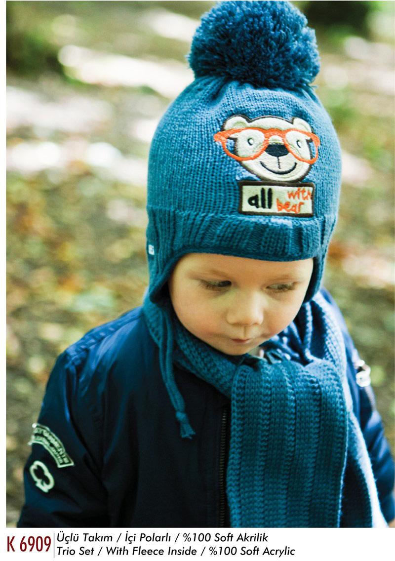 Bear Ponponlu Erkek Bebek Atki Bere Eldiven Set 87657 Erkek