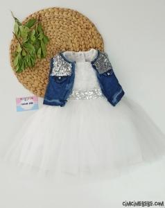 Kot Ceketli Tül Bebek Elbise