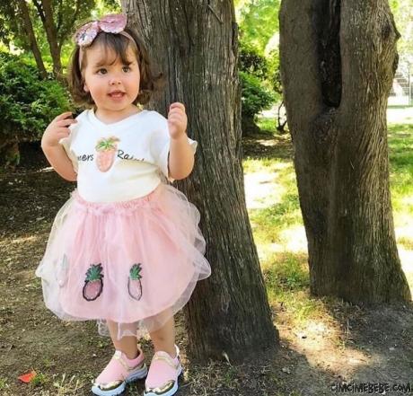 Ananas Aplikeli Tütülü Kız Çocuk Takım