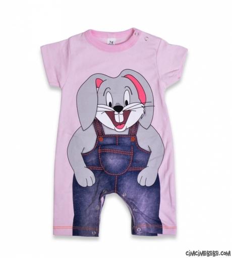 Önü Arkası Tavşan Baskılı Kısa Bebek Tulum