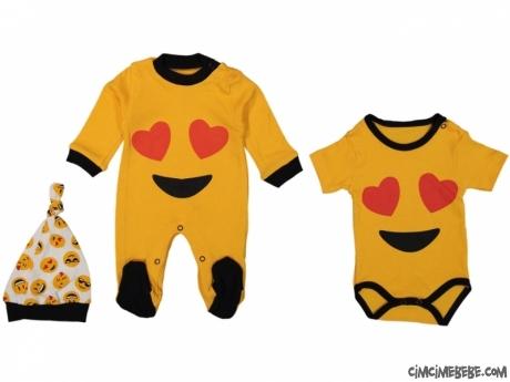 Emoji Desenli Badili Şapkalı Bebek Tulum