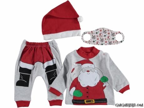 Maske Hediyeli Noel Şapkalı Bebek Takım