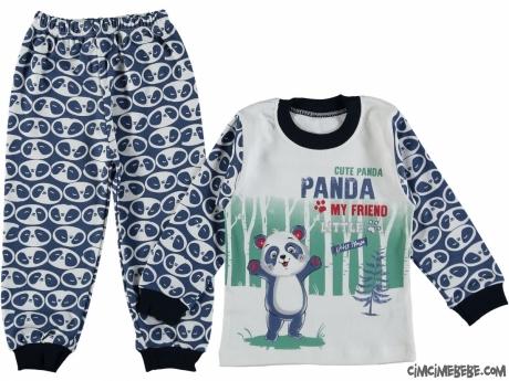 Tatlı Panda Baskılı Pijama Takımı