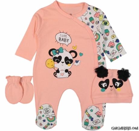 Panda Baskılı 3'lü Bebe Tulum Seti