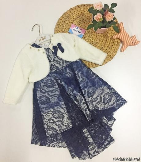 Kürk Bolerolu Kız Çocuk Elbise