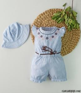 Şapkalı Kız Bebek Kısa Tulum
