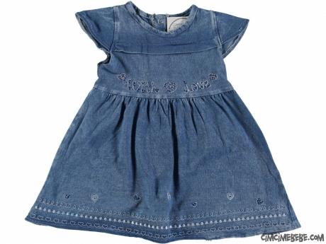 Nakışlı Kot Görünümlü Bebek Elbise