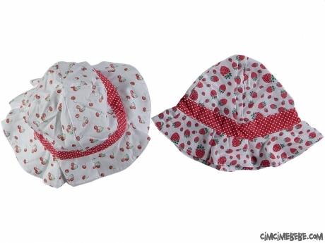 Kirazlı Ve Çilekli Bebek Şapka