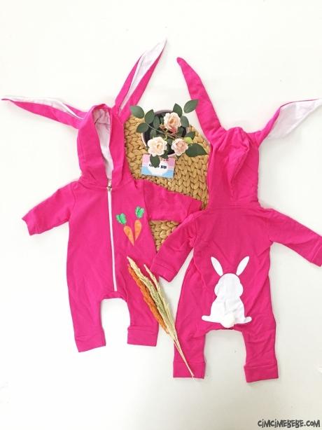 Uzun Kulak Tavşan Kız Bebek Tulum