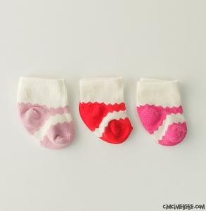 Zikzaklı 3'lü Kız Bebek Çorap