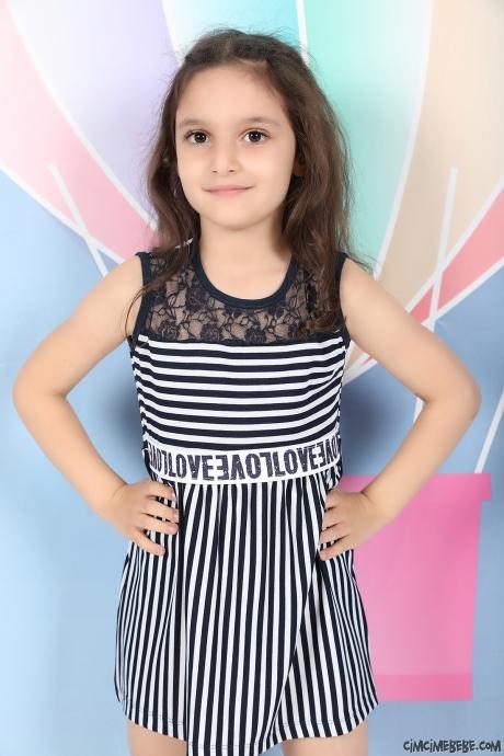 Beli Lastikli Çizgili Kız Çocuk Elbise