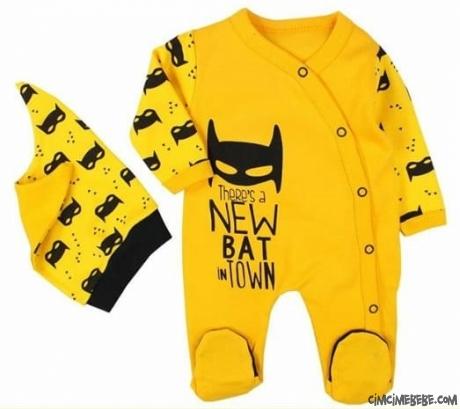 Batman Erkek Bebek Şapkalı Tulum
