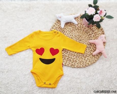 Aşık Emoji Uzun Kollu Bebek Badi
