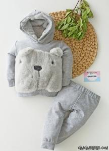 Peluş Ayıcıklı Kapşonlu Bebek Takım