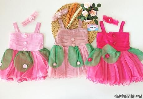 Bandanalı Çiçek Bebek Elbise