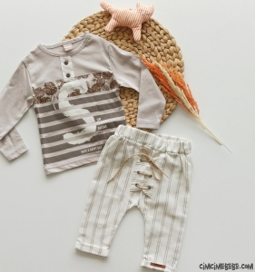 Tarz Bağcıklı Pantolonlu Bebek Takım
