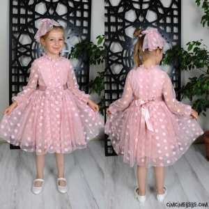 Puanlı Tokalı Kız Elbise