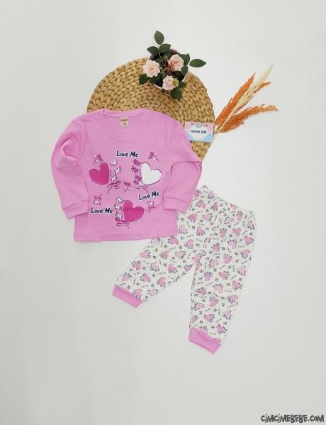 Çiçekli Kız Çocuk Pijama Takımı