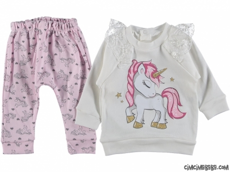 Unicorn Desenli Kız Bebek Takım