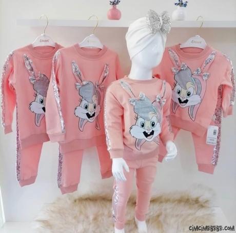 Pullu Tavşanlı Kız Çocuk Eşofman Takımı
