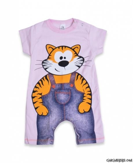 Önü Arkası Tiger Baskılı Kısa Bebek Tulum