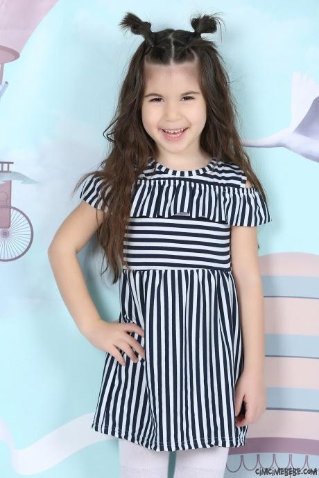 Çizgili Omuz Detaylı Kız Çocuk Elbise