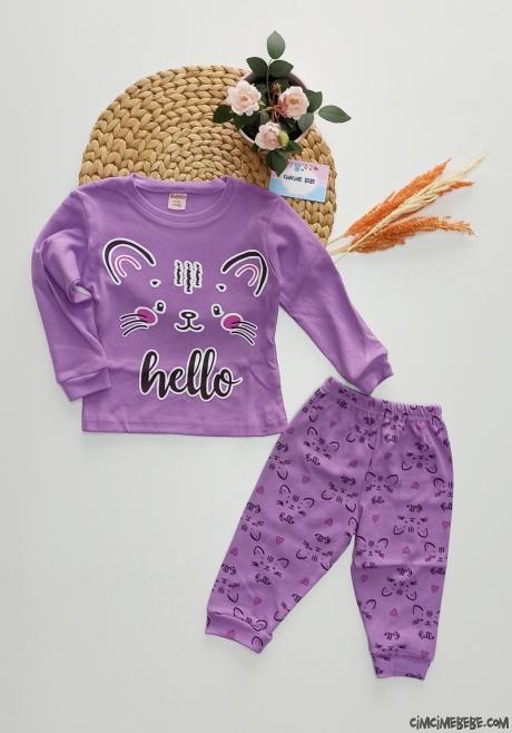 Pisicik Kız Çocuk Pijama Takımı
