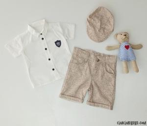 Minik Adam Şapkalı Erkek Bebek Takım