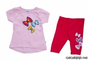 3 Boyutlu Kelebek Baskılı Taytlı Bebe Takımı
