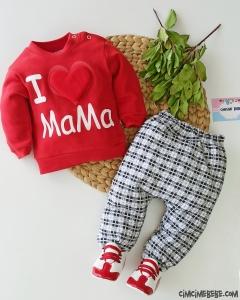 Kalpli I Love Mama Bebek Takım