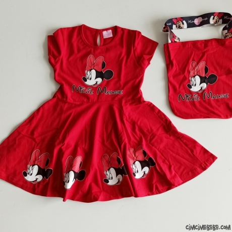 Fareli Çantalı Kız Çocuk Elbise