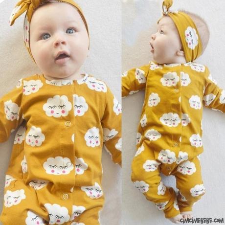 Bulutlu Bandanalı Kız Bebek Tulum