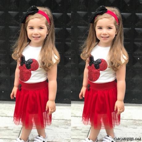 Tütülü Pullu Miki Kız Çocuk Takım