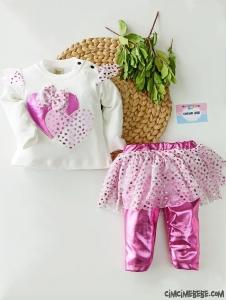 Kalp Desenli Kız Bebek Üst Fırfırlı Etek Tayt Takım