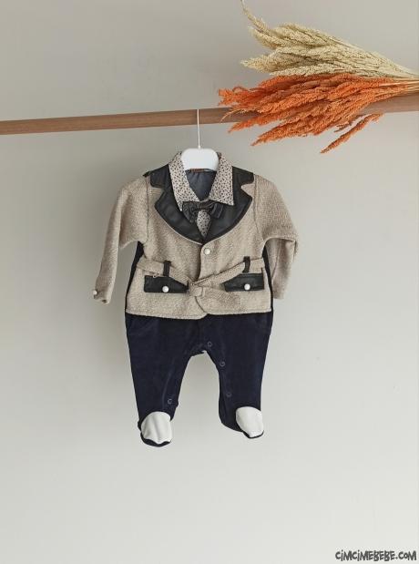Yakası Deri Sahte Ceketli Kadife Bebe Tulum