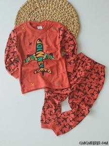 Uçak Desenli Çocuk Pijama Takımı