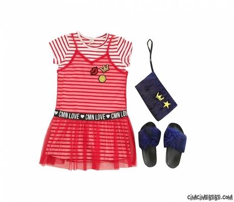 Tüylü Terlikli Tüylü Çantalı Cool Girl Elbise
